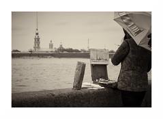 St. Petersburg: the artist on the riverside. (GlebLv) Tags: sony a6000 sel55210 river neva stpetersburg питер нева palaceembankment bank riverside rain sepia monochrome