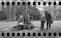 Bronica SQ-A-049-015 (michal kusz) Tags: 135 35mm medium format bronica sqa squere 80mm zenzanon conventer 120to135 girls sisters bw blackandwhite chickenpox frame film analogue hp5 ilford ilfosol 3 epson v600 portrait panoramic smile boy grass tree
