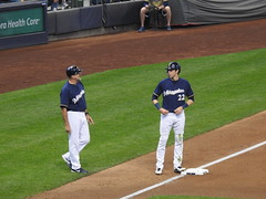 Christian Yelich on third base (Joel Abroad) Tags: millerpark milwaukee brewers baseball game stadium clevelandindians christianyelich