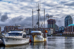 Jeanette Dawn (Paul Rioux) Tags: marine boat boats vessels commercial fishing fishermanswharf clouds calm water reflections outdoor sky weather building victoria bc prioux