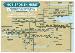 """NOT SPOKEN HERE"" (I) (the Magnificent Octopus) Tags: map railway rail railways scotland scottish gaelic brittonic toponymy poster print design illustration graphicdesign"