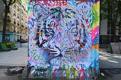 Tiger (HBA_JIJO) Tags: streetart urban paris animal art france hbajijo wall mur painting collage peinture wheatpaste paper tigre tiger urbain papier jodibona festiwall festival ardif