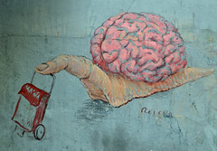 I liked this piece of street art (conall..) Tags: graffiti wall art mural mercadodeantónmartín mercado de antónmartín brain finger slug shoppingbasket shoppingtrolly trollybasket madrid calledesantaisabel