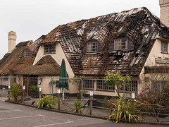 Potters Heron Hotel - Thatch Fire (fstop186) Tags: pottersheron thatch fire damage roof firebigade hampshirefirebrigade hotel burning rafters