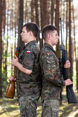 PROJECT 52 #19 - Brothers in Arms (mkarwowski) Tags: ef85mmf18usm canonef85mmf18usm canon eos 80d canoneos80d eos80d man people portrait bokeh outdoor flash military forest wood