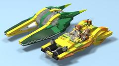 Speeder Chase (02) - Front Left (FlyingWafflez) Tags: starwars episodeii episode2 zam wesell speeder airspeeder xj6 koro2 lego moc