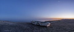 Bombay Beach Blue Hour Boat (slworking2) Tags: niland california unitedstates us bombaybeach saltonsea water lake boat vessel abandoned sand desert sunset bluehour sky panorama