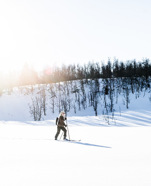 Girl skiing in Norway