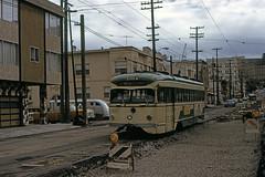 US CA San Francisco MUNI PCC 1014 4-1975 (David Pirmann) Tags: california sanfrancisco muni tram trolley streetcar transit railroad transportation pcc