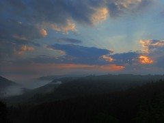Ellbachsee Blick. Morgens (doctor_iso) Tags: blackforest valley fog sun sunrise clouds ray trees schwarzwald tal