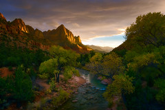Storm Watch (Joaquin James Javier) Tags: watchman zion national park utah storm sunset clouds fall autumn foliage river sidelight