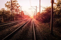(Rishabh_Sharma_In) Tags: adobe photoshop lightroom canon eos 1200d sun sunset sunshine sunrise rail railway track detail evening light smooth landscape landmark india delhi depth depression silence lonely far long distance concept idea
