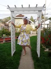 Feeling Fine :) (Laurette Victoria) Tags: spring garden laurette woman mothersday dress floralprint hat pumps