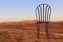 Emptiness (Alex L'aventurier,) Tags: saharadesert merzouga désert ergchebbi maroc morocco sable sand chair chaise sky ciel bleu blue dunes vastness sahara landscape