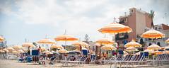 Naxos Parasols (Felix Bodenstein) Tags: naxos sicily italy nikond90 anamorphic anamorph isco cinemascope 50mm travel umbrellas parasols beach sunny holiday
