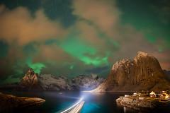 Lumen | Hamnøy, Lofoten, Norway (v on life) Tags: hamnøy lofoten norway auroraborealis aurora northernlights mountains peaks water longexposure rorbuer fishingvillage fishingboat boat clouds night reine stars