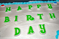 Happy Birthday! (dccradio) Tags: lumberton nc northcarolina robesoncounty indoors inside cake dessert homecooking sweet treat happybirthday birthdaycake candy frosted frosting iced icing cakepan star stars green blue red white food eat timer snack nikon d40 dslr