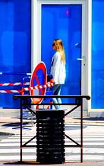 Urban blue satured (ZUHMHA) Tags: marseille france urban urbain people personnes gens human humain rouge red blue bleu color couleur silhouette barrière fence rond panneau circle cercle line lignes courbes curve geometry géométrie