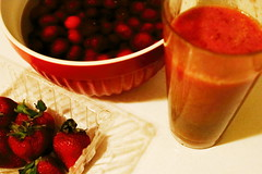 Fruit Drink (time_anchor) Tags: fruits freshfruits berries banana cherries strawberries oranges mentha nutrition