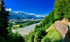 River Inn and Kufstein (UweBKK (α 77 on )) Tags: river inn flow water stream mountains trees forest green blue sky kufstein tyrol tirol austria österreich europe europa landscape alps view scenic scenery iphone