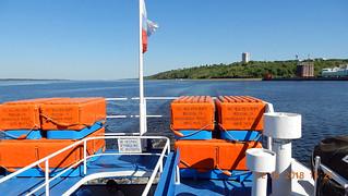 A short Volga river trip near Cheboksary by a small cruise ship