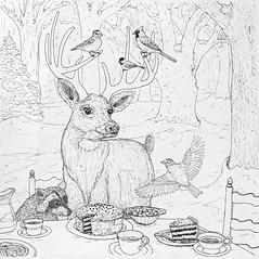 ForestHouseCake (Alex Hiam) Tags: deer buck antler birds grosbeak chickadee racoon cardinal tea cake party forest woods pen ink illustration drawing