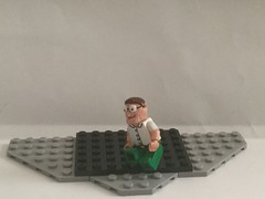 Peter Hits his Knee in Lego (Captain Crafter) Tags: peter griffin family guy stewie chris meg lois brian funny meme cartoon craft captain animation cool custom lego glasses