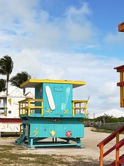 Some very colourful lifeguard booths on Miami Beach.