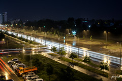 Light Trails (Jakesb_001.NEF) Tags: light lighttrails lightplay night longexposure exposure nightshot rain raining trail trails city citylife urbanjungle urbanjunge europe european srbija serbia novisad novi sad white yellow bleu street streets streetview tree trees nature storm stormy drops raindrops reflection flickr nikon nikkor cars car bus flashlight beam building buildings driving driver spring springnight warm weather outdoor outdoors photography photo traffic zebra crossing