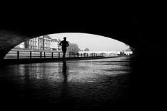 running (maekke) Tags: paris france silhouette man highcontrast reflection negativespace bw noiretblanc tourist travelling 2018 fujifilm x100t 35mm streetphotography seine