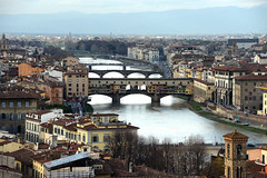 Old Bridges (MelindaChan ^..^) Tags: florence italy 意大利 佛羅倫斯 pontevecchio river arno heritage history life architecture houses chanmelmel mel melinda melindachan 老橋 bridge old