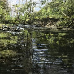 Your Water Into Ripples Breaks II - oil on canvas 80 x 80 cm - available (www.sandragraham.co.uk) Tags: artartworkartistartistscontemporaryartcollectorstreambrookburnwaterflowingnaturepaintingartistsimpastopainting worcestershire shropshire fishing water stream collector