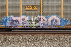 BOZO (TheGraffitiHunters) Tags: graffiti graff spray paint street art colorful freight train tracks benching benched auto racks autoracks bozo character easter