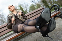 Selina 73 (The Booted Cat) Tags: sexy model girl minidress pantyhose nylon nylons heels highheels