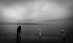 (gorelin) Tags: turkey turkye bosphorus strait istanbul sony alpha a7 a7ii voigtlander super wide heliar 15mm fisherman blackandwhite blackwhite black white water skies sky fog clouds