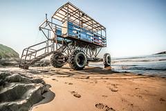 Sea tractor 111 (NikNak Allen) Tags: bigbury bigburybeach beach sand rock transport wheels sea water sky low pov