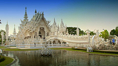 Wat  Rong Khun - White Temple in Chiang Rai, Northern Thailand (Chandana Witharanage) Tags: thailand northernthailand chiangrai watrongkhun whitetemple asia southeastasia buddhist buddhism architecture water travel reflection chalermchai kositpipata thai artist religion siam temple decorate 7dwf saturdaylandscapes
