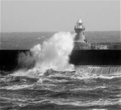 South Light and Wave Splash On Tynemouth Breakwater (Gilli8888) Tags: nikon p900 coolpix sea northsea northtyneside northeast blackandwhite coast coastal northshields breakwater lighthouse waves water portoftyne port southshields explore