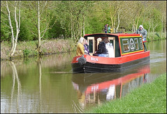'Ben' passing through. (Country Girl 76) Tags: narrow boat ben people canal leeds liverpool skipton north yorkshire water bank trees reflections bright sunshine