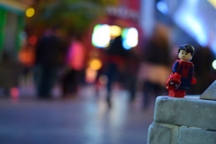 """""""I don't feel so good."""" (RagingPhotography) Tags: lego spiderman spider man marvel comics super hero superhero outside bright lights bokeh city downtown down town light avengers avenger infinity war no spoilers spoiler movie plastic toy toys minifigure minifig figure mask suit costume ragingphotography"""