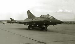 The Green Dragon (crusader752) Tags: rdaf royaldanishairforce saab sk35xd draken at152 729squadron rafgreenhamcommon 1976 airtattoo bw mono monochrome blackwhite blackandwhite