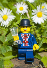 Happy Royal Wedding Day! (that_brick_guy) Tags: photography toy toyphotographey up close closeup macro nikkor nikon d7200 dslr duchess duke prince meghan harry wedding royal royalwedding champagne glass hat bowler bowlerhat waistcoast jack flag union unionjack unionflag legolester lester legominifigure legominifig lego