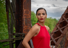 Oscany (QuarryClimber) Tags: woman female brunette browneyes reddress urban city railroadbridge sonya7riii sony85mmgm pretty style beautiful
