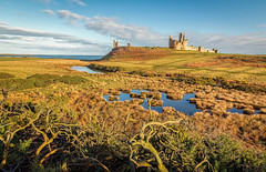Winter sun at Dunstanburgh (urfnick) Tags: canon eos 1300d northumberland castle ruins fort battlements ocean sea pond lake marsh sky clouds landscape outdoors nature coast