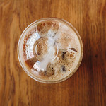 Top view of take away cup with ice cappuccino. thumbnail