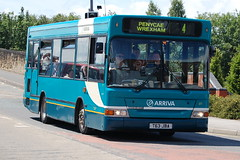Arriva Dennis Dart SLF 811 T63JBA - Wrexham (dwb transport photos) Tags: arriva dennis dart plaxton pointer bus 811 t63jba wrexham