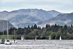 Helvellyn from Ullswater Yacht club, Cumbria, England (vincocamm) Tags: helvellyn lake ullswater yacht dinghy sails snow mountains hills stridingedge lakedistrict trees green blue masts