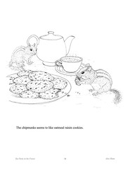TeaPartyP14 (Alex Hiam) Tags: childrens book pages free landscape forest children sled snow birds animals chikadee badger deer baking cake chipmunk house cottage barn sleigh nature tea party teacup teapot cookies illustration drawing