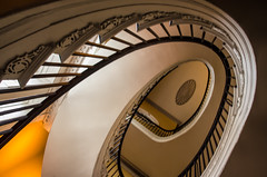 """Elliptical Staircase at the Nathaniel Russell House"" (Photography by Sharon Farrell) Tags: nathanielrussell nathanielrussellhouse usnationalhistoriclandmark nationalhistoriclandmark usnationalregisterofhistoricplaces nationalregisterofhistoricplaces historichouses americanarchitecture 51meetingstreet meetingstreet charleston charlestonsouthcarolina charlestonsc charlestowne historiccharleston historiccharlestonfoundation southofbroadstreet staircase spiralstaircase ellipticalspiralstaircase ellipticalstaircase windingstaircase cantiliveredspiralstaircase stairscape stairporn federalstylearchitecture threestorystaircase"