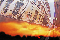 Rome (kirstiecat) Tags: rome italy multipleexposure fire burning bicyclists canon street energy travel feeling cinematic moment people strangers story fisheyelens